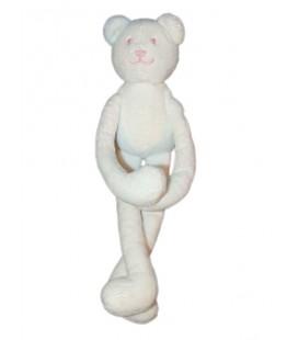 Doudou OURS blanc brodé rose JACADI Scratchs aux pattes 30 cm