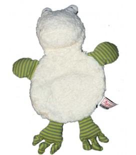 Doudou Plat Grenouille blanc vert Sigikid - Poche scratch dans ledos