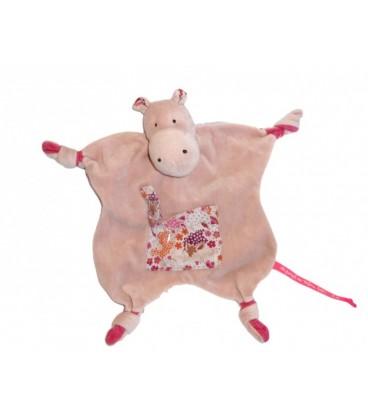 Doudou HIPPOTAME rose DPAM - Du Pareil au Même bébé - 4 noeuds Poche