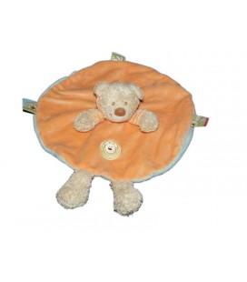 Doudou plat rond Ours Capuche orange bleu Nicotoy Kiabi 579/5187