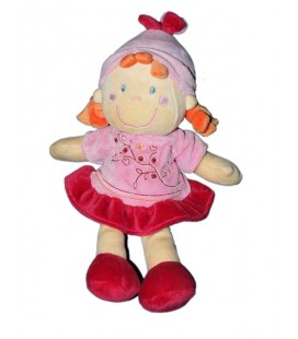 Doudou Fille robe rose rouge bordeaux Lutin Vêtir 30 cm 579/7781