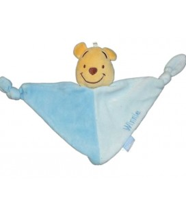 Doudou plat Winnie Bleu Disney Baby GSA triangle 2 noeuds