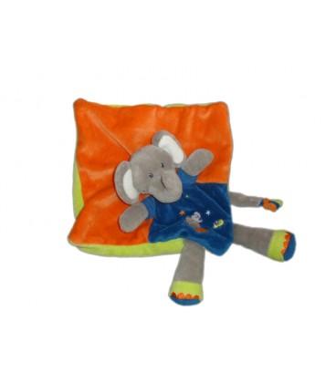 NICOTOY Doudou plat ELEPHANT bleu orange