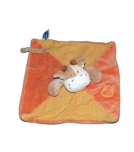 Doudou plat Vache orange beige Mots d'Enfants coeur 28 cm 579/5894