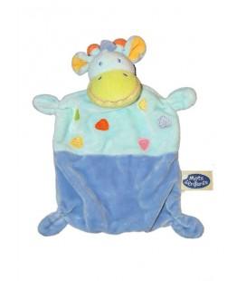 Doudou plat Vache Girafe bleue Mots d'Enfants 579/9961