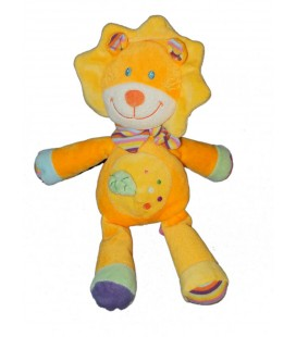 Doudou Lion Orange Jaune Pommette 18111 Intermarché Feuille Verte