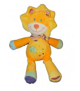 Doudou Lion orange jaune Pommette 18111 Intermarche Feuille verte