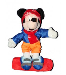 Peluche doudou MICKEY Surf Snowboarder Disney Disneyland Resort Paris 26 cm