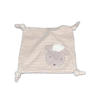 Doudou plat rayé blanc beige gris Mouton Kiabi 4 noeuds