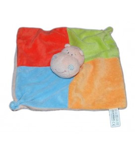 Zeeman Doudou plat Hippopotame rouge bleu orange vert