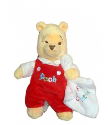 Peluche doudou Winnie l'Ourson The Pooh Plush 24 cm Disney store My First Christmas Mouchoir blanc
