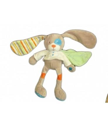 Doudou peluche gris beige feuille verte - Carrefour - TEX Baby - 28 cm
