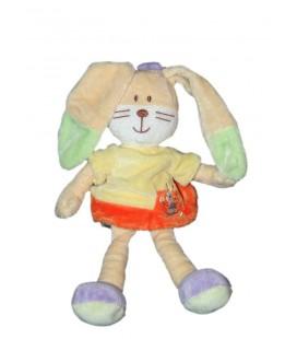 Doudou Peluche Lapin orange jaune vert beige Mots d'Enfants 26 cm