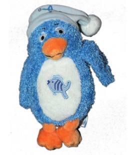 Doudou Pingouin bleu blanc Bonnet Poisson Gipsy 18 cm