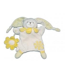 Doudou et Compagnie Marionnette Lapin blanc fleur jaune