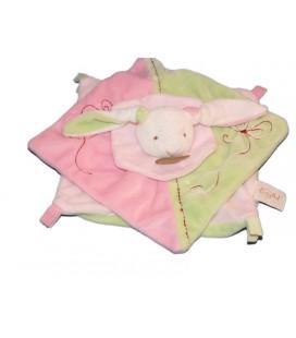 Babynat Doudou plat Lapin rose vert Baby Nat