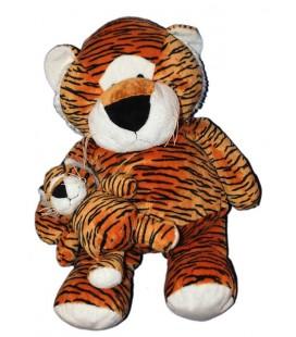 Doudou Peluche Tigre roux noir et son bébé 60 cm Marque indéterminée, Carrefour, Max et Sax ?