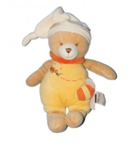 Doudou Peluche Ours Musical Abeille jaune orange Baby Nat'
