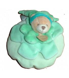 DOUDOU ET COMPaGNIE OURS vert Carambole Fleur Pt Mod. Largeur 14 cm