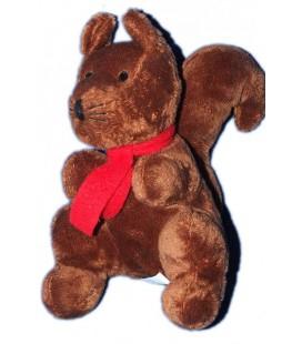 Peluche doudou Ecureuil marron Echarpe rouge Courtepaille 22 cm