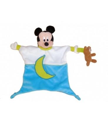 Doudou plat MICKEY - Bleu blanc vert Lune - Disney Baby - Ours marron