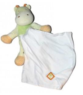 Doudou Hippopotame vert Mouchoir blanc Sucre d'Orge 30 cm