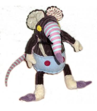 Doudou peluche Souris Ratos Le RAT - DEGLINGOS - 35 cm (Hauteur totale).