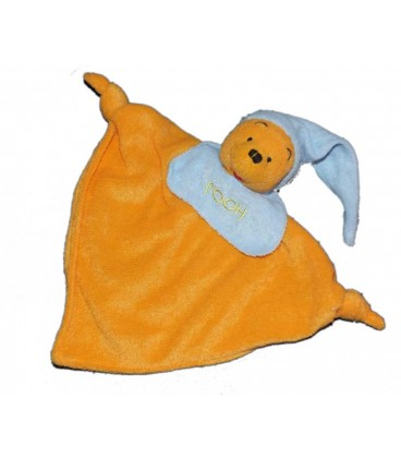 Doudou plat Winnie Pooh orange bonnet bleu 2 noeuds