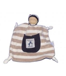 Doudou plat WELEDA Maud de Fontenoy fondation - Marin Rayures 100% Coton bio Organic Cotton