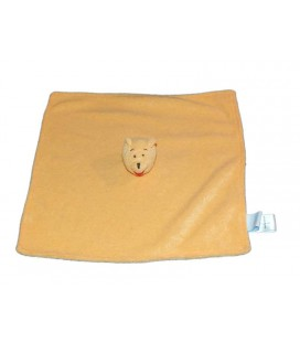 Doudou plat carré Winnie Pooh orange éponge Disney Baby
