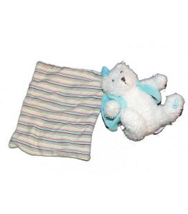 Doudou Ours blanc sac à dos bleu Mouchoir rayé OBAIBI OKAIDI