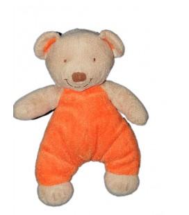 Doudou Ours orange beige Pommette 24 cm