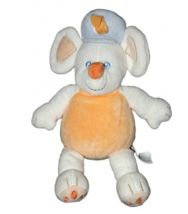 doudou-peluche-souris-orange-blanc-chapeau-bleu-kimbaloo-la-halle-30-cm