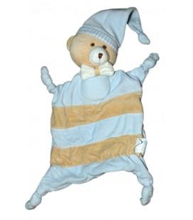 Doudou Ours bleu beige Bonnet KIMBALOO La Halle