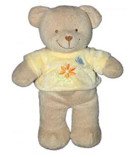 doudou-peluche-ours-beige-pull-jaune-fleur-orange-tex-carrefour-26-cm