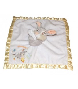Doudou Plat Panpan Pan Pan Thumper and his little friends Disney Store Satiné jaune velours blanc Carré
