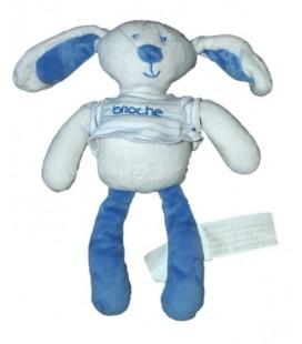 Doudou Lapin blanc bleu Brioche Kimbaloo La Halle 24 cm