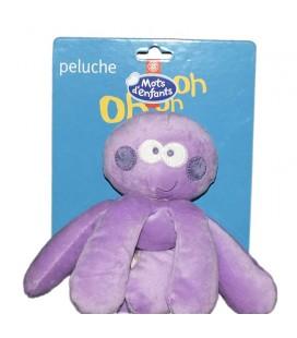 Doudou Peluche Pieuvre mauve violette Mots d'Enfants Leclerc 18 cm 579/8291
