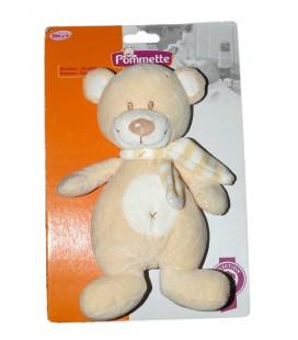 doudou-peluche-ours-blanc-beige-croix-echarpe-rayee-pommette-intermarche-knuffel-boneco-25-cm