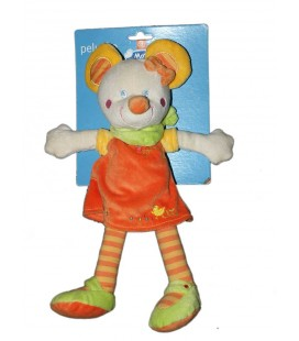 Doudou Peluche Souris orange Foulard Vert Mots d'Enfants 35 cm Leclerc Siplec