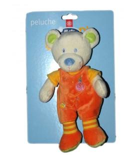 Doudou Peluche Ours orange Mots d'Enfants 26 cm Leclerc Siplec