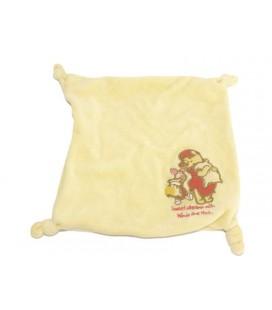 Doudou plat jaune WINNIE The Pooh Sweet Dreams 4 noeuds - Zip Fermeture éclair