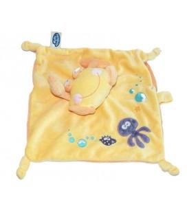 Doudou plat Crabe jaune MOTS D'ENFANTS Siplec Leclerc 4 noeuds Pieuvre