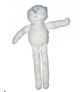 Doudou Chat blanc bleu Bout'chou Monoprix