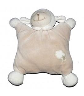 Doudou semi plat coussin Mouton beige Bout'chou Monoprix Nuage blanc Etoile Grelot