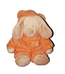 Doudou Peluche Lapin écru beige crème déguisé en ours Orange Orchestra 36 cm