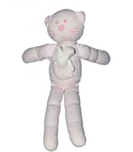 Doudou Chat rose Poche bébé Bout'chou Monoprix pois gris 28 CM
