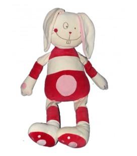 Grand doudou peluche Lapin blanc rouge rayures DPAM Du Pareil au Même rayures rayé Grelot 50 cm