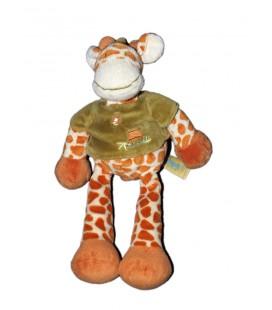 Doudou Girafe marron Ochestra pull vert 26 cm