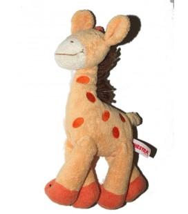 Doudou girafe jaune orange Laine marron Orchestra